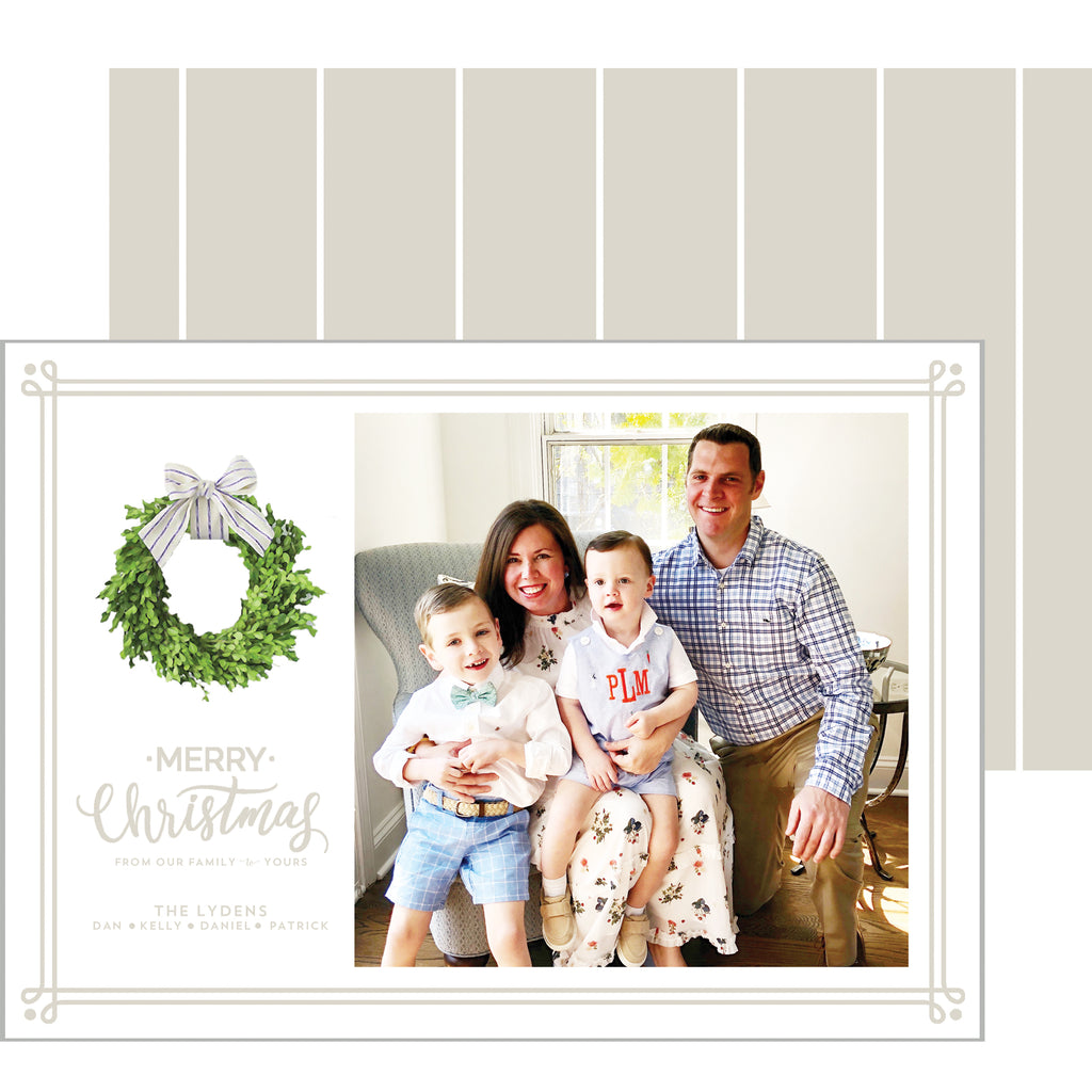Christmas Farmhouse Wreath Holiday Photo Card