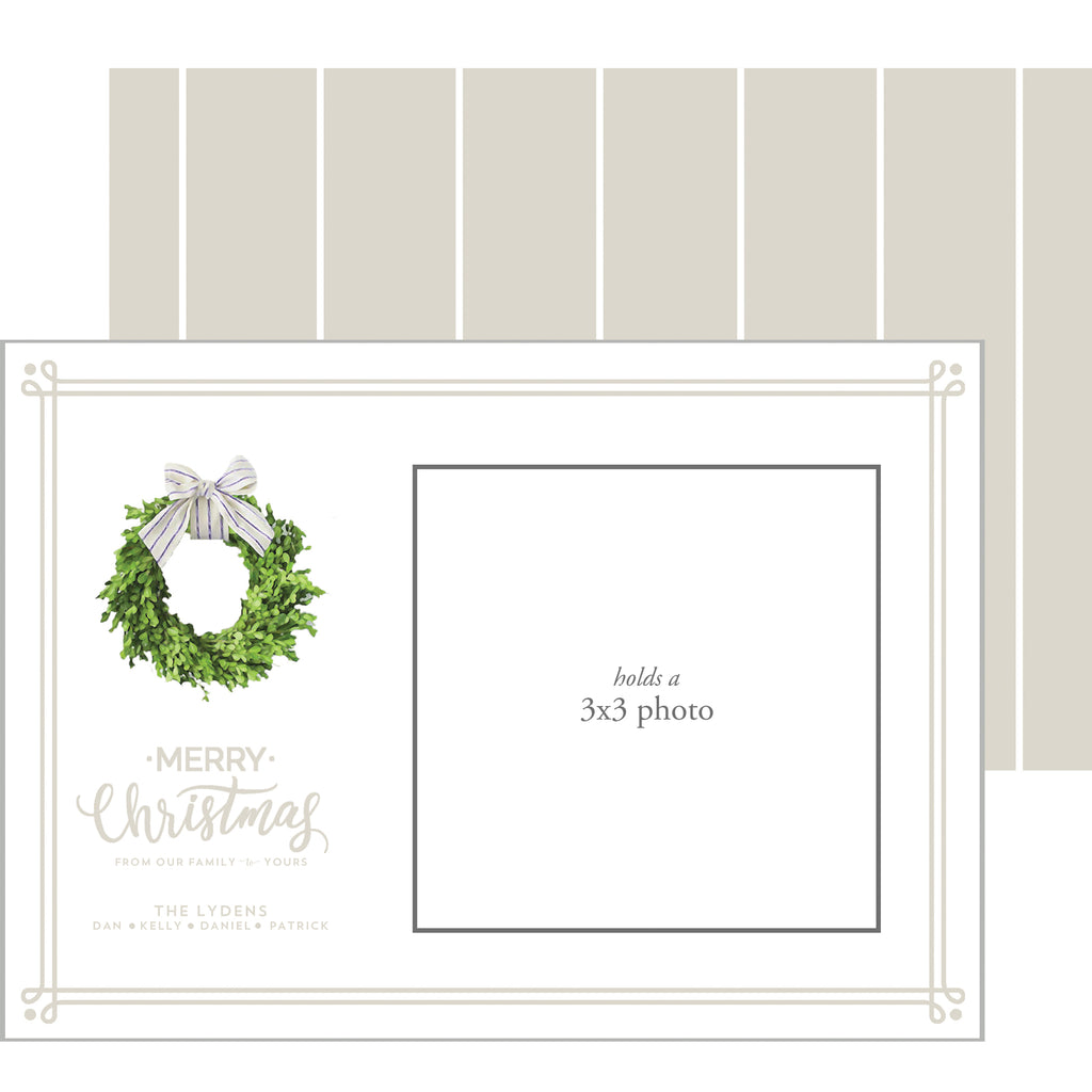 Photo Mount Holiday Photo Card | Farmhouse Wreath