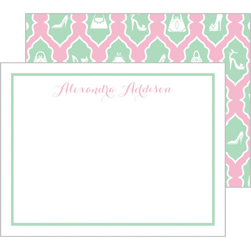 Fashion Ikat Personalized Flat Notecards