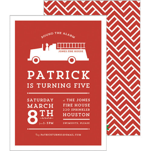 Fire Truck Double-Sided Party Invtation