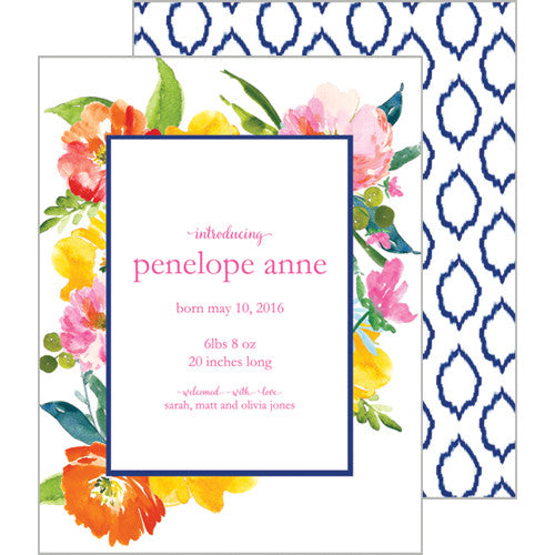 Floral Ikat A2 Birth Announcement Card