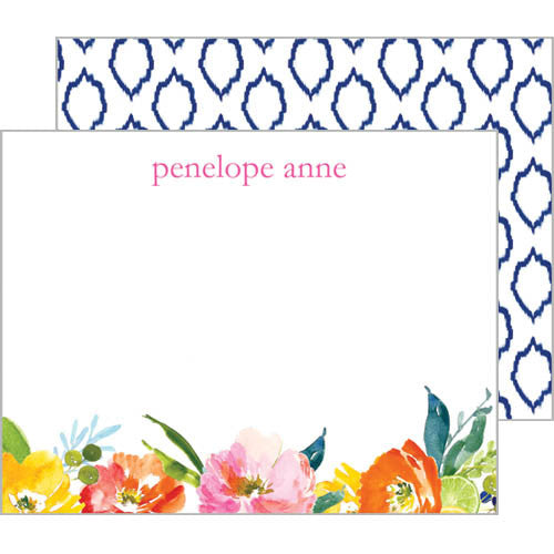 Watercolor Floral Ikat Flat Notecards