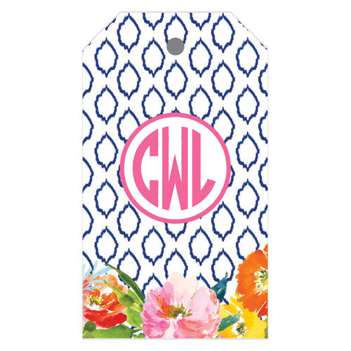 Floral Ikat Monogrammed Gift Tags