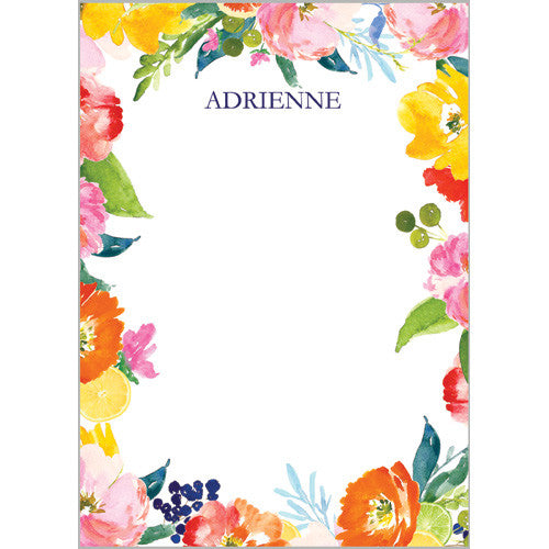 Floral Ikat Personalized Notepad