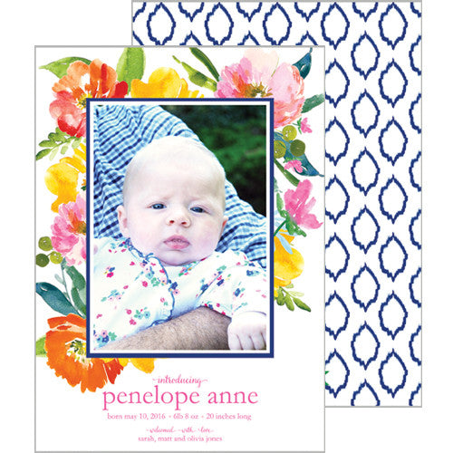 Watercolor Floral Ikat Photo Birth Announcement