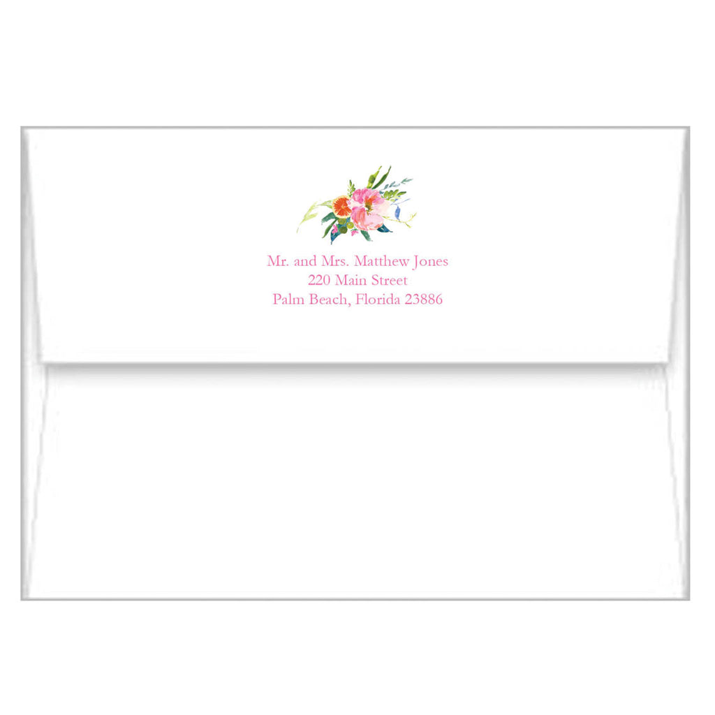 Floral Ikat Personalized Flat Notecards
