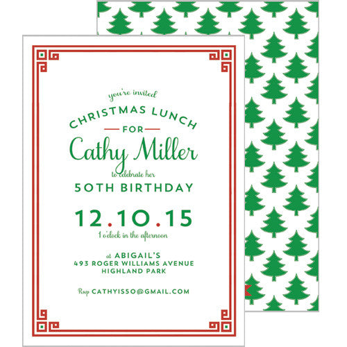 Christmas Tree Greek Key Party Invitation