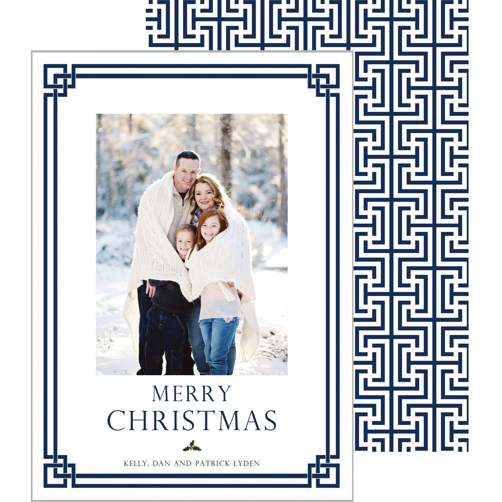 [CUSTOM] Fretwork Holiday Photo Card - China Blue