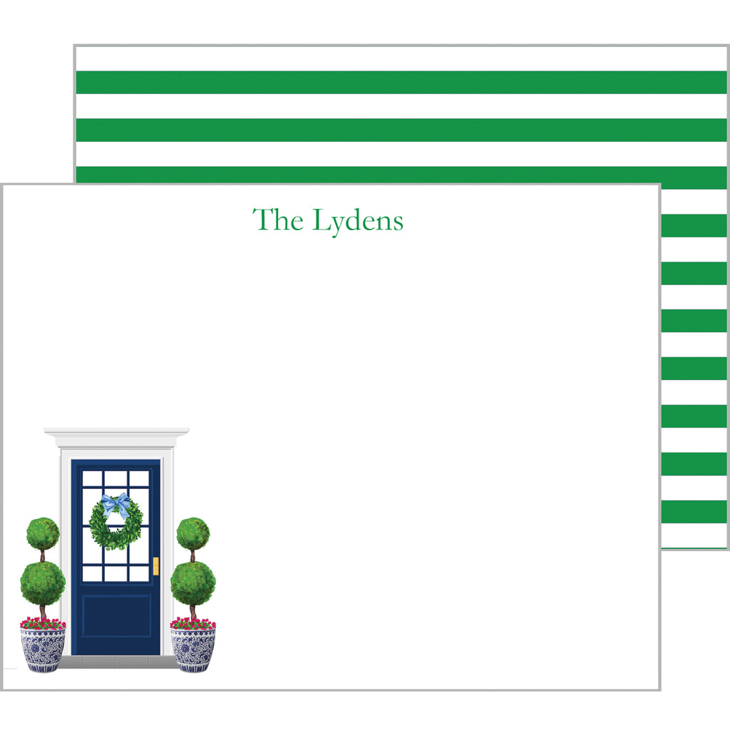 Preppy Front Door Personalized Flat Notecards