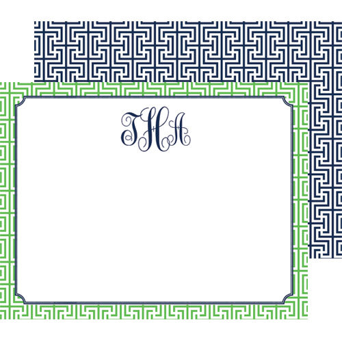 Garden Maze Graphic Pattern Personalized Flat Notecards | Green