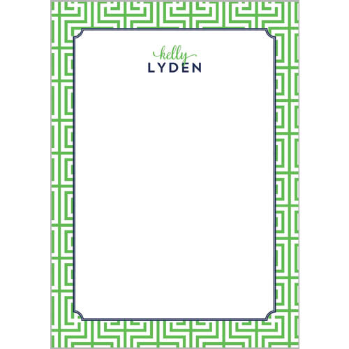 Garden Maze Personalized Notepad | Green