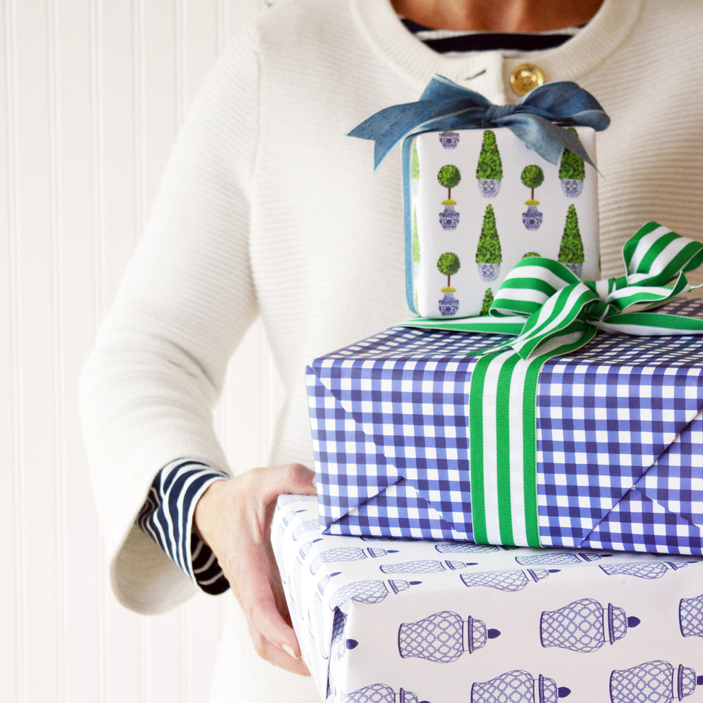 Gingham Check Gift Wrap Sheets | Navy Blue