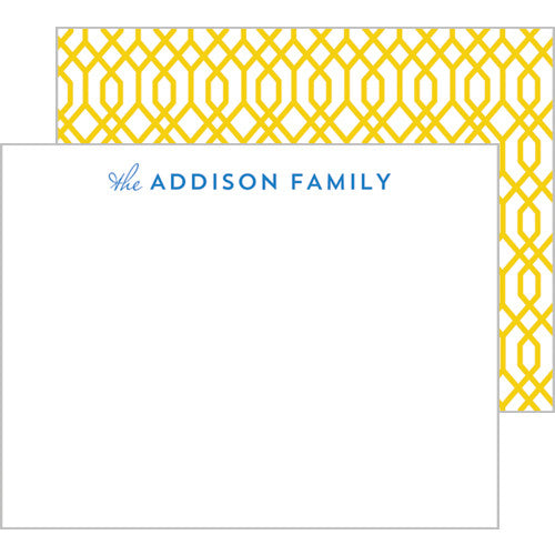 Geometric Trellis Personalized Flat Notecards - More Colors