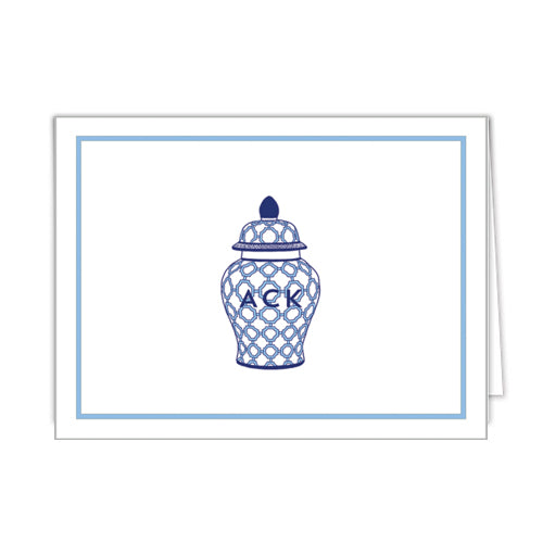 Geometric Ginger Jar Personalized Folded Notecards