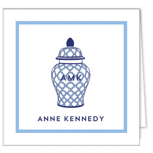Geometric Ginger Jar Personalized Enclosure Cards + Envelopes