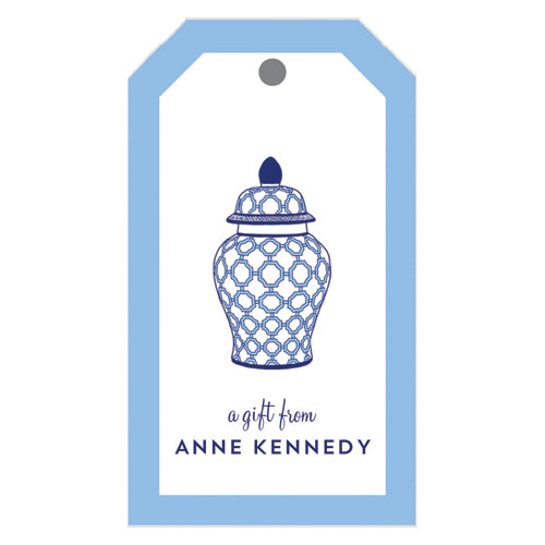 Geometric Ginger Jar Personalized Gift Tags