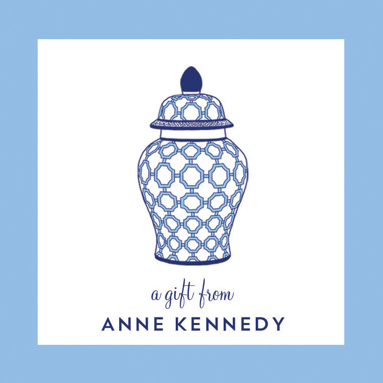 Blue and White Geometric Ginger Jar Personalized Gift Sticker | Set of 24