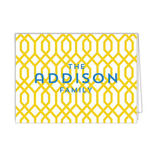Geometric Trellis Personalized Folded Notecards - More Colors