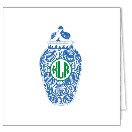 Ginger Jar Monogram Enclosure Cards + Envelopes