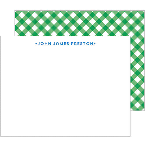 Gingham Personalized Flat Notecards - More Color Options