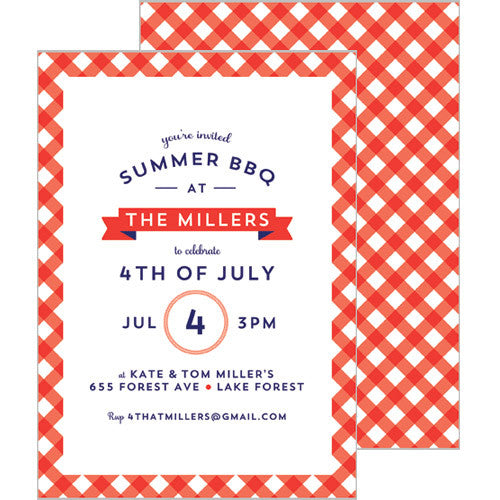 Gingham Check Invitation - Red