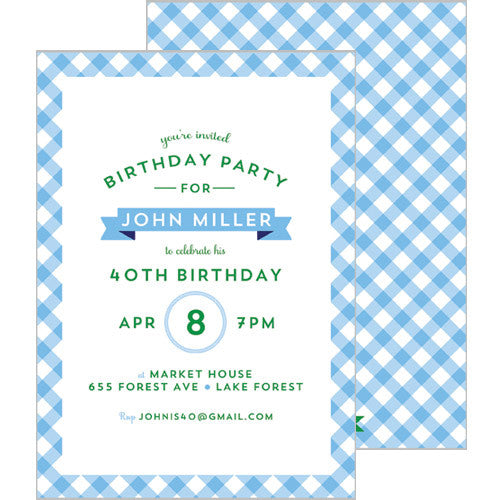 Gingham Check Invitation - Cornflower