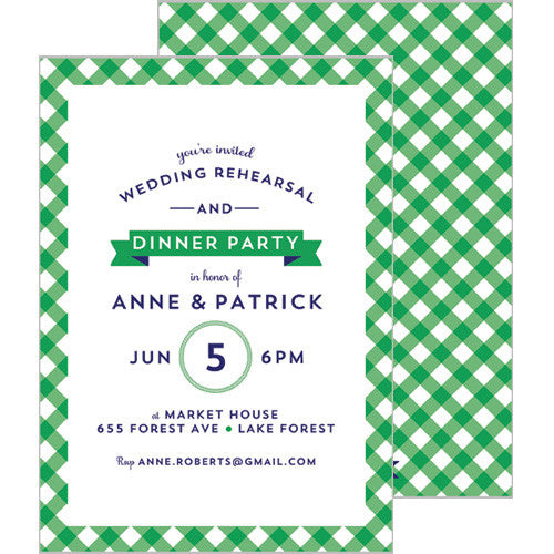 Gingham Check Invitation - Green