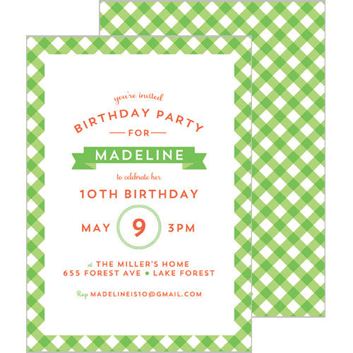 Gingham Check Invitation - Lime Green