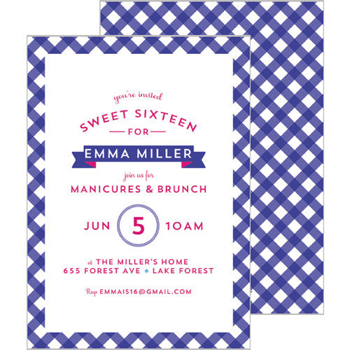 Gingham Check Invitation - Navy Blue