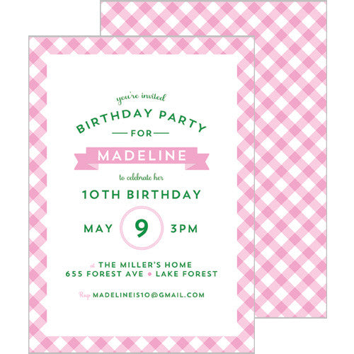 Gingham Check Invitation - Pink