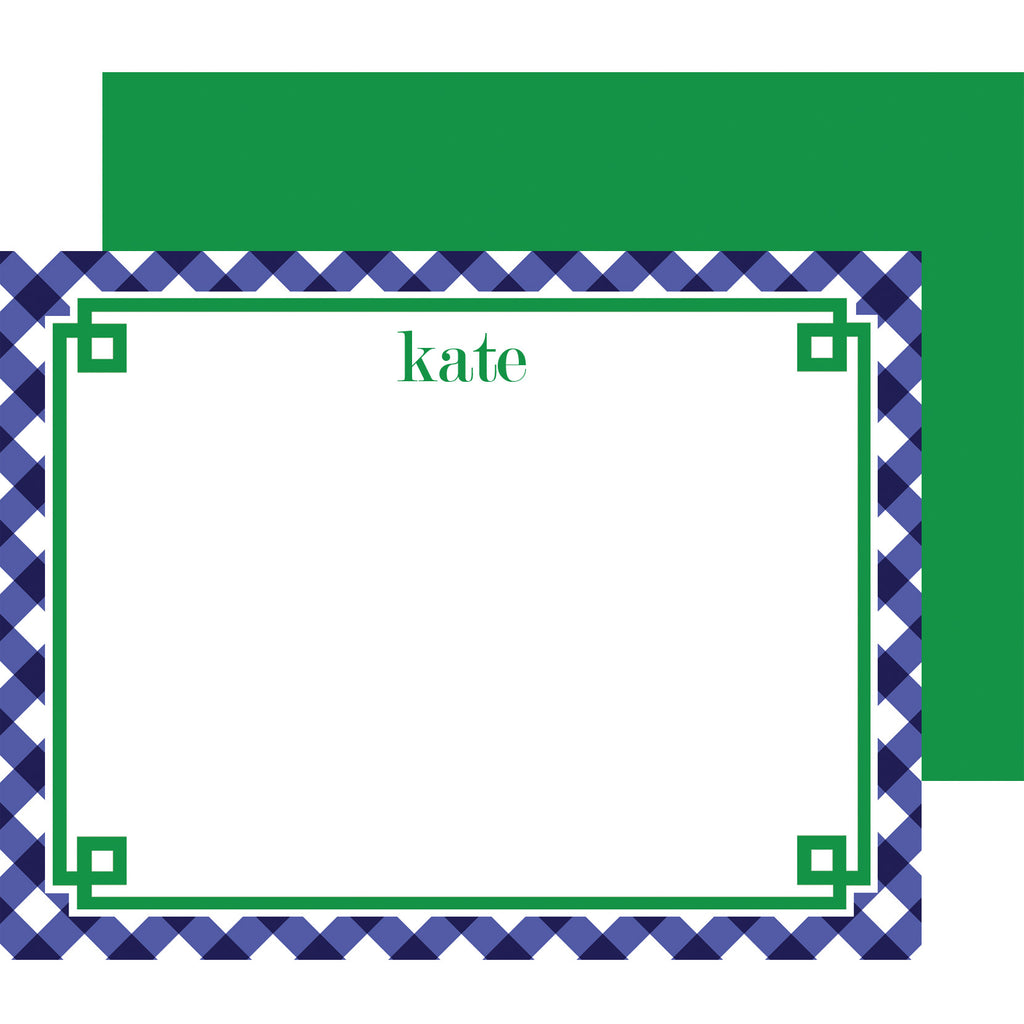 Navy Blue Gingham Fretwork Personalized Flat Notecard
