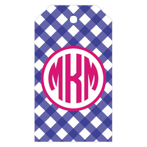 Gingham Check Monogrammed Gift Tags | More Colors