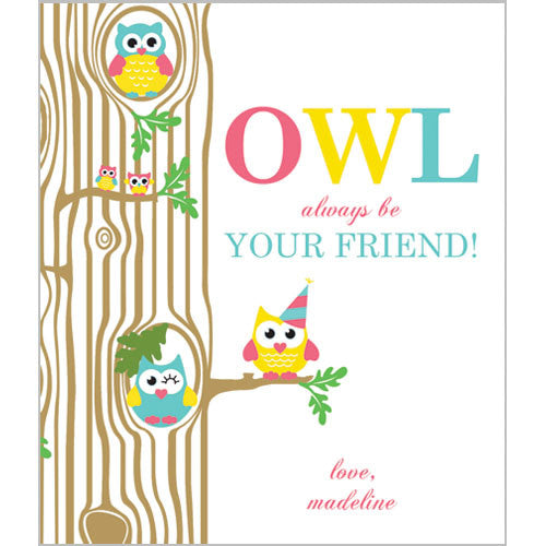 Colorful Girl Owl Valentines for Kids