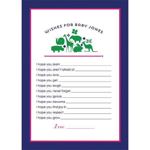 Preppy Animal Silhouettes Wishes for Baby Cards - Girl