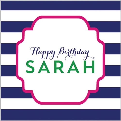 "2.5"" Square Preppy Animals Navy Stripe Birthday Stickers - Girl"