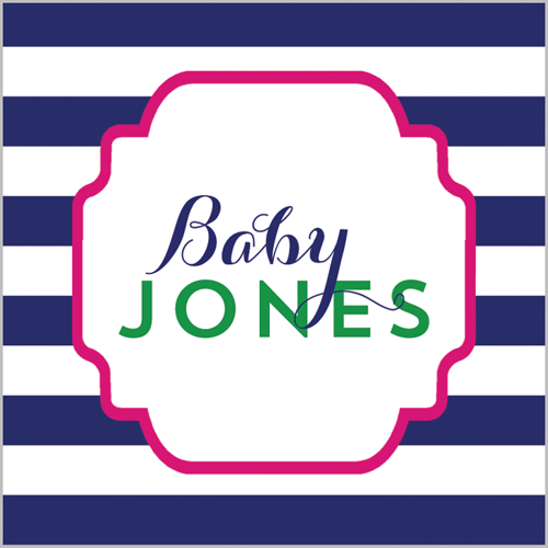 "2.5"" Square Preppy Animals Navy Stripe Stickers - Girl"