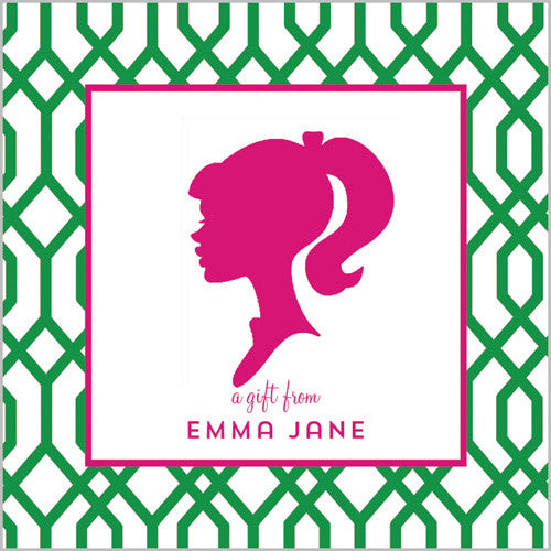 Green w/Hot Pink Girl Silhouette Gift Sticker - Set of 24