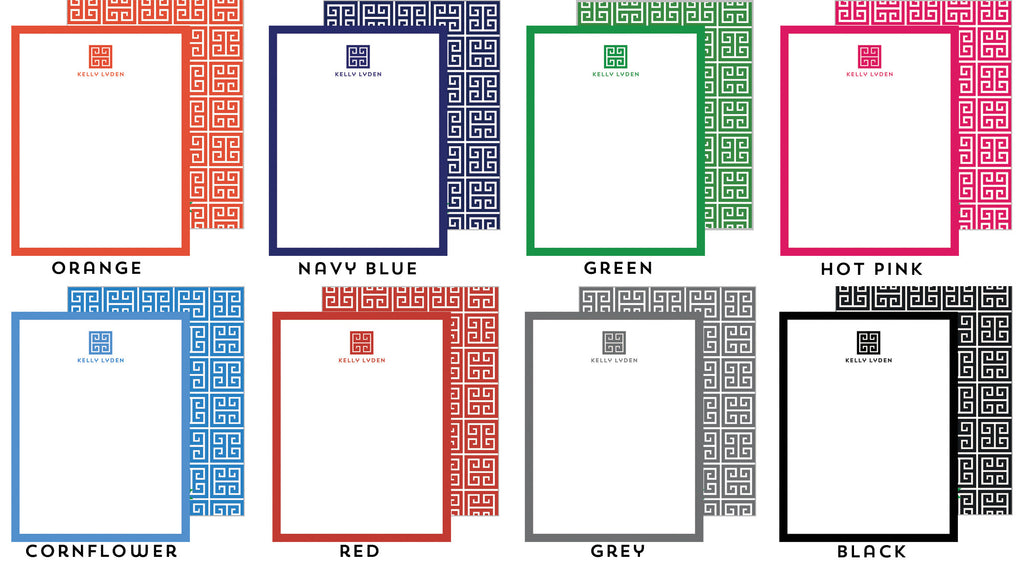 Greek Key Emblem Personalized Flat Notecards - More Colors