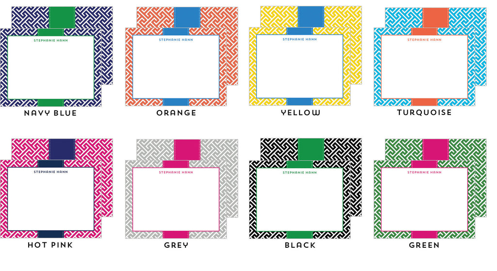 Greek Key Personalized Flat Notecards - More Color Options