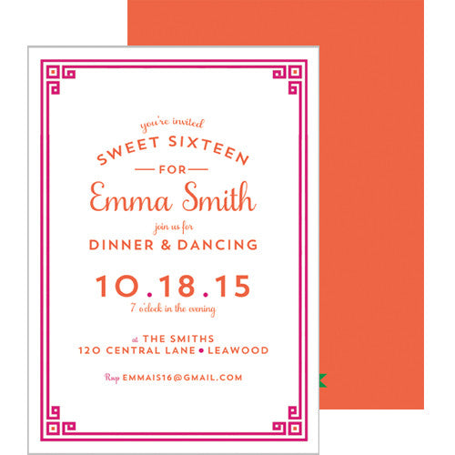 Greek Key Border Invitation - Hot Pink