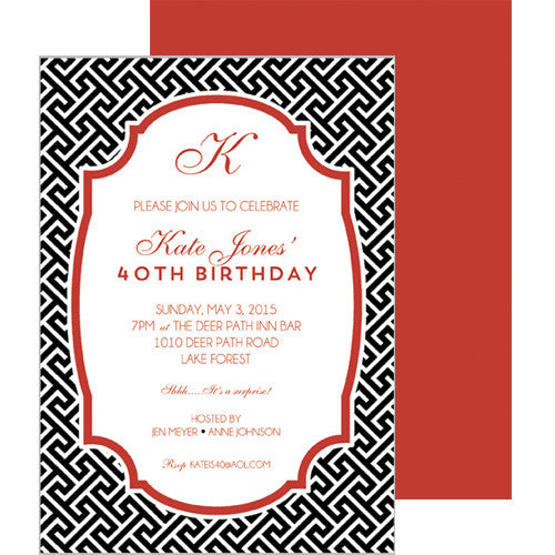 Greek Key Party Invitation - Black