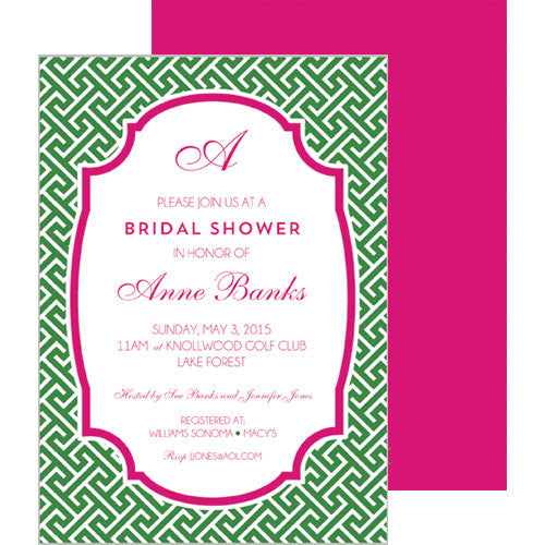 Greek Key Party Invitation - Green