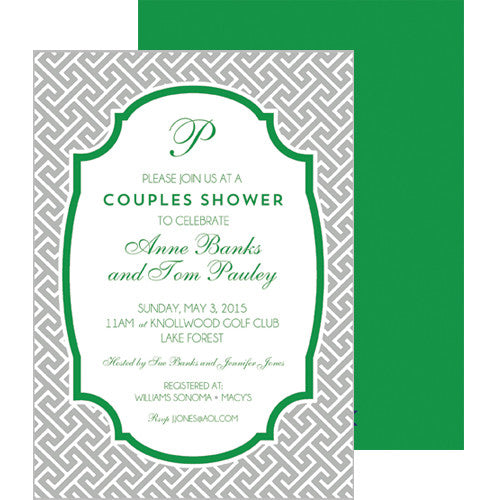 Greek Key Party Invitation - Grey