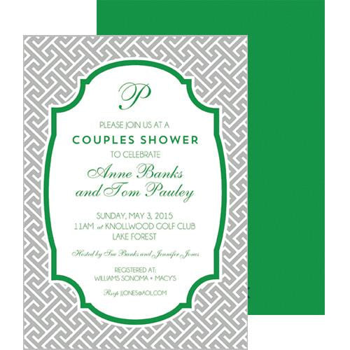 Greek Key Party Invitation - Grey Wholesale