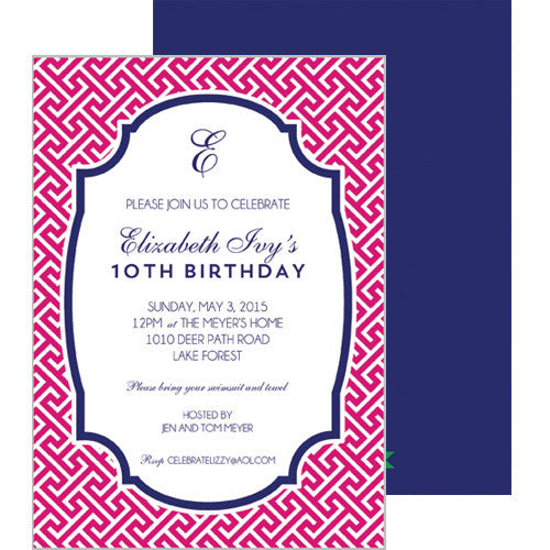 Greek Key Party Invitation - Hot Pink