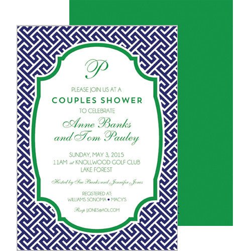Greek Key Party Invitation - Navy Blue