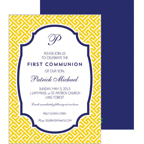 Greek Key Party Invitation - Yellow