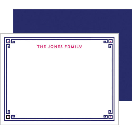 Greek Key Border Personalized Flat Notecard - More Color Options