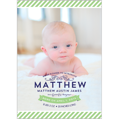 Preppy Green Stripe Photo Birth Announcement Card