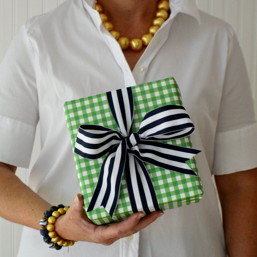 Gingham Check Gift Wrap Sheets | Green
